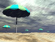 Rain on the beach - 3D render Royalty Free Stock Images