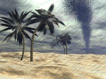 Rain at the beach - 3D render Royalty Free Stock Image