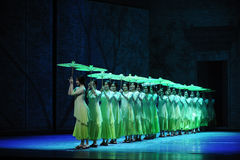 The rain beat on the banana leaf-The second act of dance drama-Shawan events of the past Stock Images