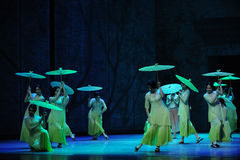 The rain beat on the banana leaf-The second act of dance drama-Shawan events of the past Stock Image