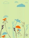 Rain birds. Cute birdies with umbrellas under the rain Stock Photography