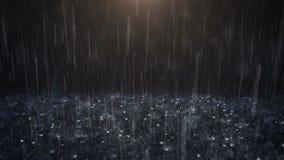 Rain on black background stock footage