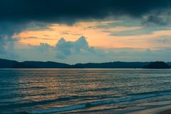 Rain black clouds over the resort of Thailand in the evening, dr Royalty Free Stock Photography
