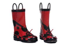 Rain Boots. A pair of colorful ladybug rain boots ...fresh from a puddle Stock Images