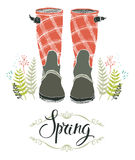 Rain boots and spring forest grass, design card. With calligraphy Stock Photography