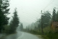 Rain on car front window Royalty Free Stock Images