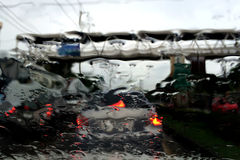Rain on the car windshield Stock Photography