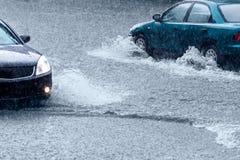 Rain and cars royalty free stock image