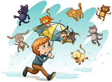 A rain with cats and dogs. An idiom showing a rain with cats and dogs on a white background royalty free illustration