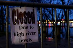 Flooded River Closed Sign stock image