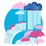 Rain city background with clouds and umbrellas.Vector color flat Stock Images