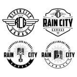 Rain city garage logo vector. Logocar Rain city garage logo vector with piston skull and ribbon badge and line vector illustration