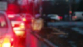 Rain in city night. Blurring car going to rain and night city stock footage