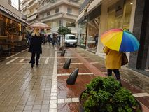 Rain in the city of Ioannina Greece. Rain in the city shops road in Ioannina Greece Stock Image