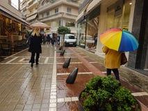 Rain in the city of Ioannina Greece. Rain in the city shops road in Ioannina Greece Stock Image