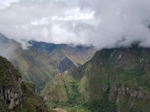 Dramatic Machu Picchu in the Clouds. The rain cleared up at Machu Picchu and gave me some very dramatic photographs royalty free stock image