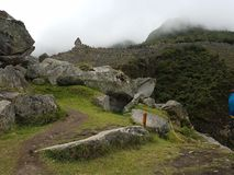 Dramatic Machu Picchu in the Clouds stock photography