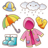 Rain Clothes. Vector illustration of Cartoon Rain Clothes set royalty free illustration