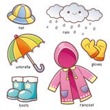 Rain Clothes. Vector illustration of Cartoon Rain Clothes vocabulary royalty free illustration