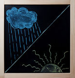 Rain cloud and beaming sun drawn on blackboard Stock Photography