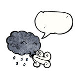 Rain cloud blowing gale with speech bubble Stock Photo