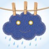 Rain cloud on a clothesline Royalty Free Stock Image