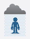 Rain Cloud Figure. Cloud raining on a standing silhouette figure Royalty Free Stock Photos