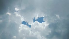 The Rain cloud are moving fast Covered with bright blue sky in the daytime.  stock video footage