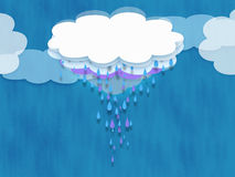 Rain Cloud. A multi-layered cloud with raindrops falling in lavender drops a blue drops vector illustration