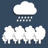 Rain cloud over the trees. Vector Stock Photo