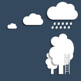 Rain cloud over the trees. Vector Royalty Free Stock Photo