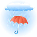 Rain cloud with red umbrella Royalty Free Stock Image