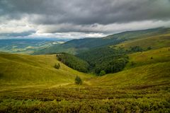 Rain clouds above Ukrainian Carpathian Mountains. royalty free stock photo