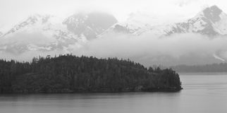 Rain Clouds Cover Alaskan Mountain Range Royalty Free Stock Photography