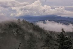 Rain Clouds crossing a ridge top just below Clingmans Dome GSMNP Royalty Free Stock Photos
