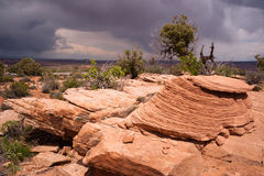 Rain Clouds Gather Over Rock Formations Utah Juniper Trees Royalty Free Stock Image