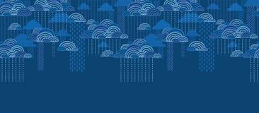 Rain clouds horizontal seamless pattern background vector illustration