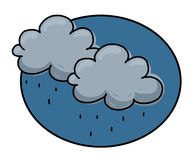 Rain clouds illustration. Rain clouds cartoon style illustration Stock Image
