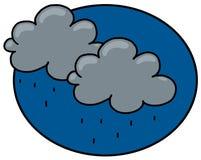 Rain clouds illustration. Rain clouds with rain drops cartoon Royalty Free Stock Image