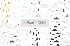 Rain and clouds kids seamless pattern set Royalty Free Stock Images