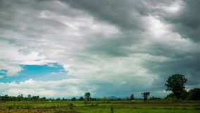 Rain clouds moving in the sky over the paddy field. In rural of Thailand stock video footage