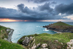 Rain Clouds over the Cornish Coast Stock Photo