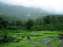 Rain clouds over forest. Scenic view of monsoon rainclouds over lush green forest and mountains Stock Photo