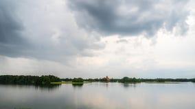 Rain clouds over the lake, Trakai Castle, time-lapse stock footage