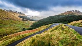 Rain clouds over a mountain valley. Scotland Stock Image