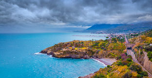 Rain clouds over the northern coast of Sicily near Palermo Stock Photography
