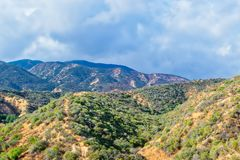Rain clouds over recent Southern California wildfire area Royalty Free Stock Photo