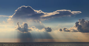 Rain clouds over sea. Royalty Free Stock Image