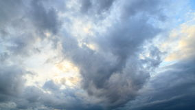 Rain clouds, rain starts. Time Lapse Royalty Free Stock Photography