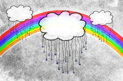 Rain clouds and rainbow. Three rain clouds with a bright and beautiful rainbow in the gray sky. On a textured background Royalty Free Illustration